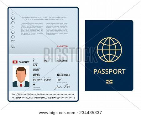 Vector Blank Open Passport Template. International Passport With Sample Personal Data Page. Document