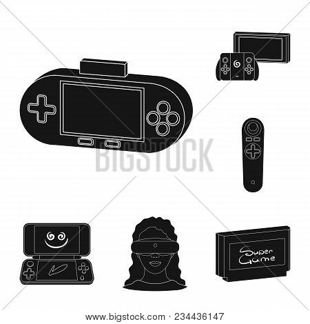Game Console And Virtual Reality Black Icons In Set Collection For Design.game Gadgets Vector Symbol