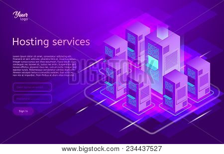 Web Hosting And Data Center Isometric Vector Illustration. Concept Of Big Data Processing, Server Ro