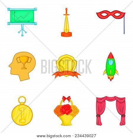 Rise Icons Set. Cartoon Set Of 9 Rise Vector Icons For Web Isolated On White Background