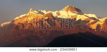 Evening Red Colored Sunset Panoramic View Of Annapurna Himal Range, Annapurna 2 Ii And 4 Iv, Nepal H