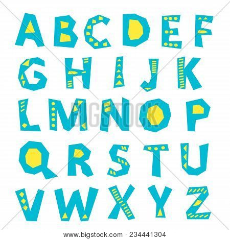 Vector Set Of Funny Difference English Alphabets. English Alphabet, Vintage Letters, Funny Hand Draw