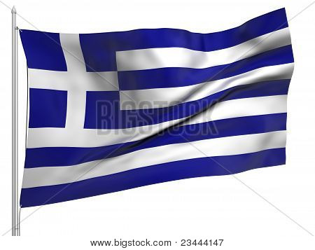 Flying Flag Of Greece - All Countries