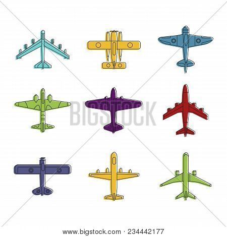 Airplane Icon Set. Color Outline Set Of Airplane Vector Icons For Web Design Isolated On White Backg