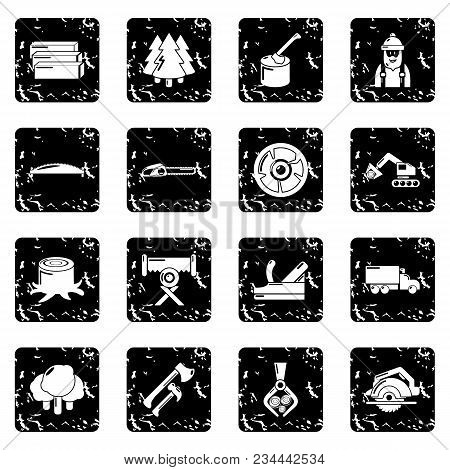 Timber Industry Icons Set Vector Grunge Isolated On White Background