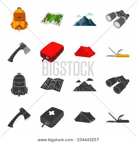 Ax, First-aid Kit, Tourist Tent, Folding Knife. Camping Set Collection Icons In Black, Cartoon Style