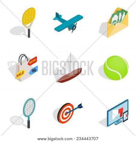 Progress Icons Set. Isometric Set Of 9 Progress Vector Icons For Web Isolated On White Background