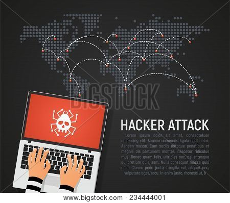 Global Hacker Attack World Map Vector Illustration. World Internet Security In Danger Dark Backgroun