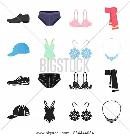 Cap, Earrings, Necklace, Swimsuit. Clothing Set Collection Icons In Black, Cartoon Style Vector Symb