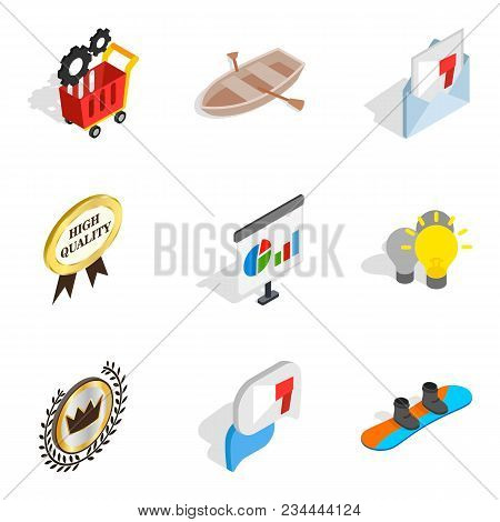 Advance Icons Set. Isometric Set Of 9 Advance Vector Icons For Web Isolated On White Background