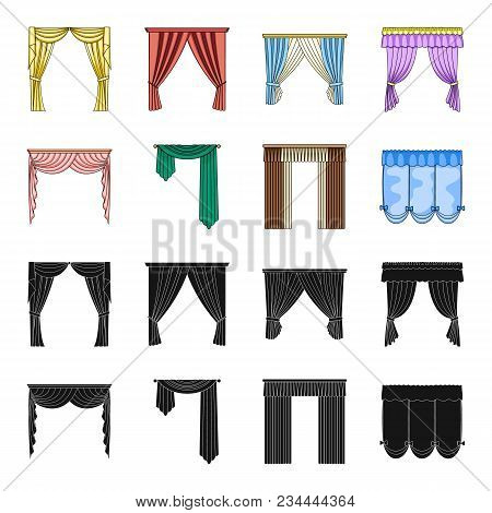 Different Types Of Window Curtains.curtains Set Collection Icons In Black, Cartoon Style Vector Symb