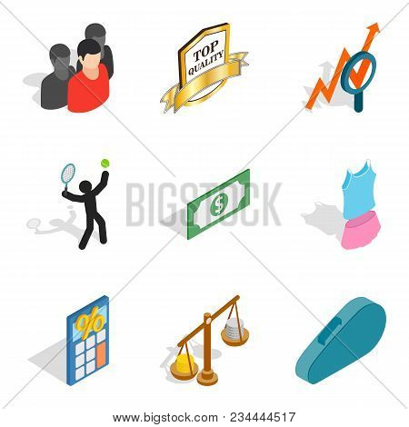 Nomination Icons Set. Isometric Set Of 9 Nomination Vector Icons For Web Isolated On White Backgroun