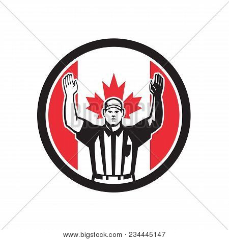 Icon Retro Style Illustration Of A Canadian Football Referee,head Linesman, Down Judge Or Line Judge