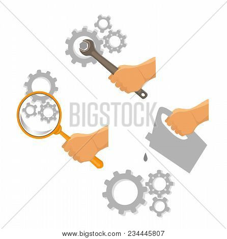 Car Service Illustration Set. Repair Of Mechanics. Lubrication Mechanism. Mechanism Diagnostics