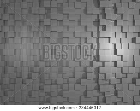 Grey Abstract Cubic 3d Texture / Background. Modern Style Decoration.rendering.