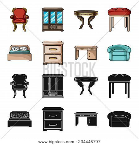 Interior, Design, Bed, Bedroom .furniture And Home Interiorset Collection Icons In Black, Cartoon St