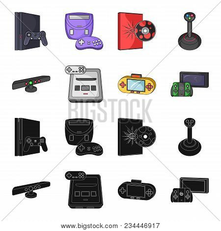 Game And Tv Set-top Box Black, Cartoon Icons In Set Collection For Design.game Gadgets Vector Symbol