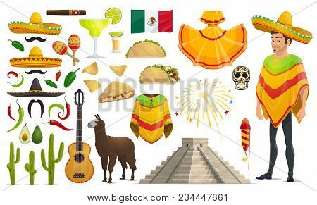 Cinco De Mayo Mexican Celebration Culture Icons. Vector Isolated Set Of Mexico Flag, Man In Sombrero