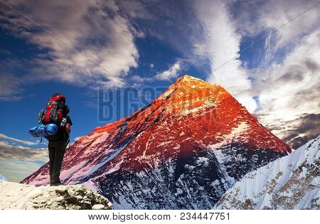 Evening Colored View Of Mount Everest From Gokyo Valley With Tourist On The Way To Everest Base Camp