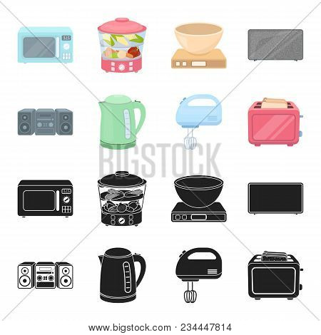 Electric Kettle, Music Center, Mixer, Toaster.household Set Collection Icons In Black, Cartoon Style