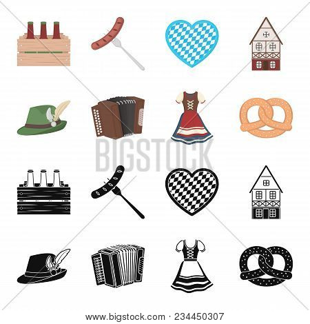 Tyrolean Hat, Accordion, Dress, Pretzel. Oktoberfest Set Collection Icons In Black, Cartoon Style Ve