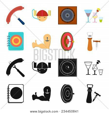 Menu, Armor With Tattoo, Darts, Corkscrew And Opener.pub Set Collection Icons In Black, Cartoon Styl