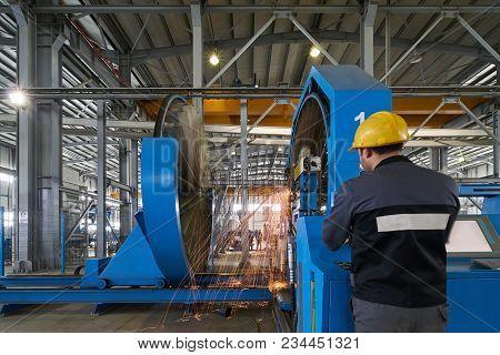 Working Process In Factory. Big Welding Machine