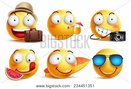 Summer Smileys Vector Set With Facial Expressions. Yellow Smiley Face Emoticons With Summer Vacation