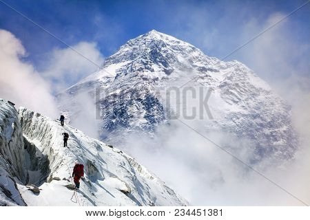 Panoramic View Of Mount Everest From Kala Patthar With Group Of Climbers On The Way To Everest, Saga