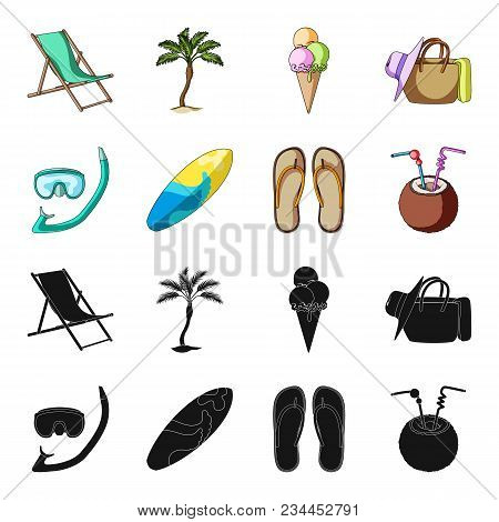 Diving, Surfing, Cocktail.summer Vacation Set Collection Icons In Black, Cartoon Style Vector Symbol