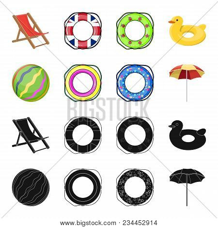 Multicolored Swimming Circle Black, Cartoon Icons In Set Collection For Design. Different Lifebuoys