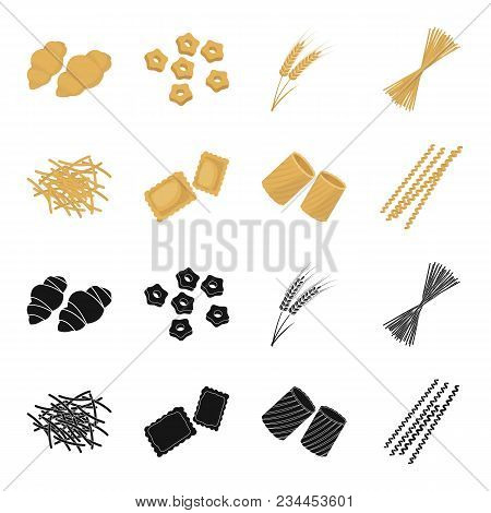 Different Types Of Pasta. Types Of Pasta Set Collection Icons In Black, Cartoon Style Vector Symbol