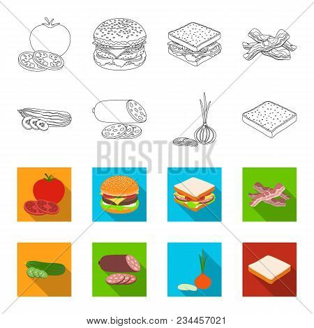Burger And Ingredients Outline, Flet Icons In Set Collection For Design. Burger Cooking Vector Symbo