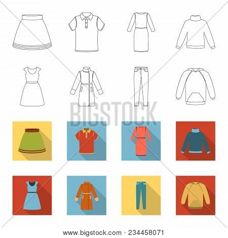 Dress With Short Sleeves, Trousers, Coats, Raglan.clothing Set Collection Icons In Outline, Flet Sty
