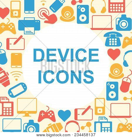 Device Outline Icons Set. Electronic Symbols Collection. Line Icons Pattern For Computer And Mobile