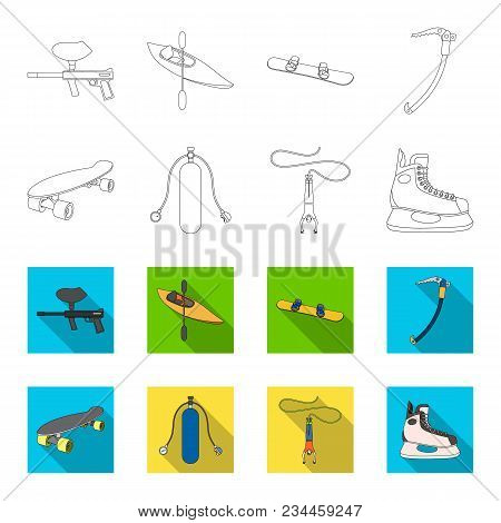 Skateboard, Oxygen Tank For Diving, Jumping, Hockey Skate.extreme Sport Set Collection Icons In Outl