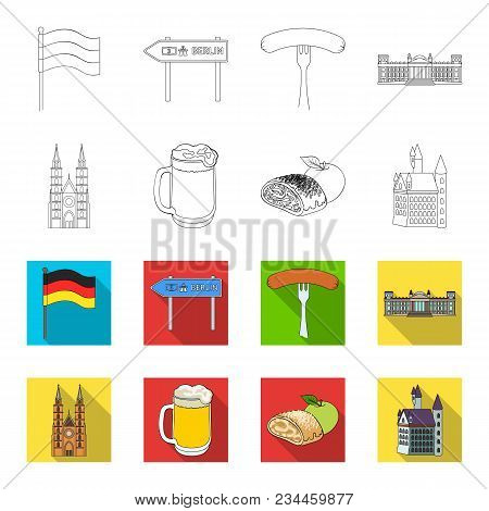 Country Germany Outline, Flet Icons In Set Collection For Design. Germany And Landmark Vector Symbol