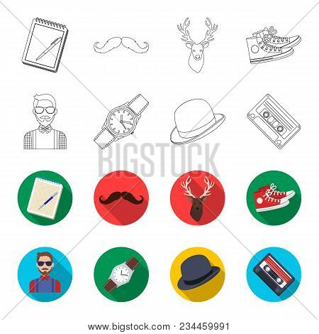 Hipster, Fashion, Style, Subculture .hipster Style Set Collection Icons In Outline, Flet Style Vecto