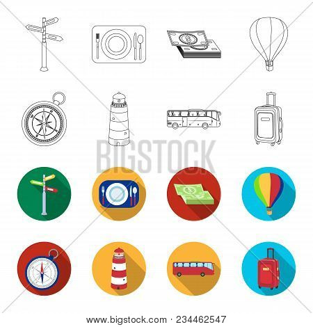 Vacation, Travel, Lighthouse, Compass .rest And Travel Set Collection Icons In Outline, Flet Style V