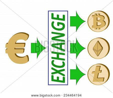 Euro Exchange With Crypto Currency. Bitcoin ,ethereum ,litecoin Coins Icons And Simbol Of Crypto Cur