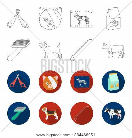 Dog, Cow, Cattle, Pet .vet Clinic Set Collection Icons In Outline, Flet Style Vector Symbol Stock Il