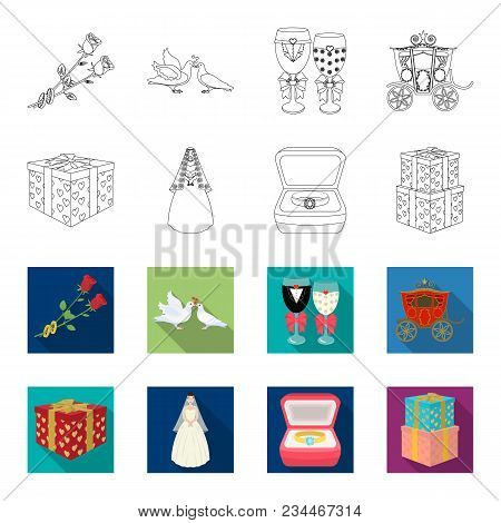 Wedding And Attributes Outline, Flet Icons In Set Collection For Design.newlyweds And Accessories Ve