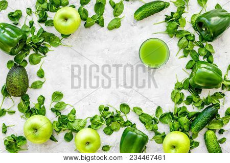 Greeny Vegetable Smoothie In Glass On With Cucumber, Pepper, Apple, Celeriac Stone Table Background
