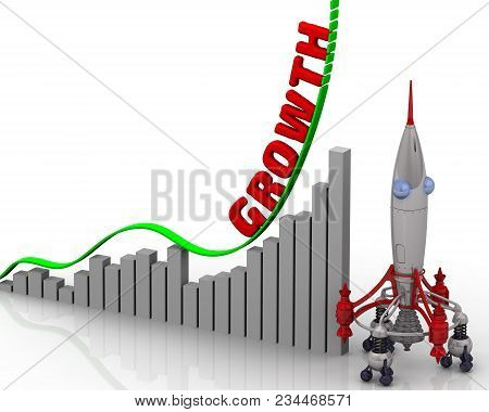 The Graph Of Growth. Graph Of Rapid Growth With Word Growth And Rocket. 3d Illustration