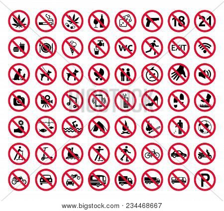 Red Prohibition Sign Set. Forbidden Signs Collection