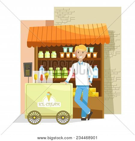 Street Counter And Trolley With Delicious Ice Cream And Seller. Man In Shirt With Bow And Cart Full