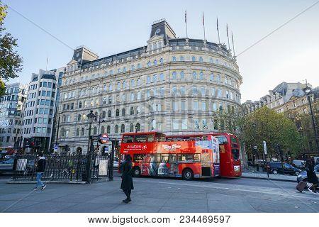 London / Uk - November 13 2017: Woman Walk On Trafalgar Square Near Charing Cross Subway For City Si