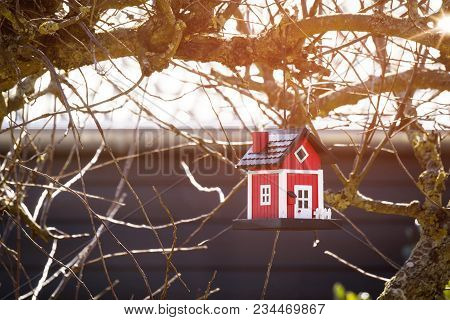 Red Birdhouse Barn Hanging In A Tree In The Winter