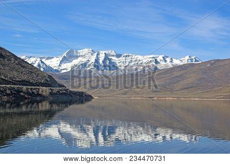 Mountains Reflected In Deer Creek Reservoir, Utah