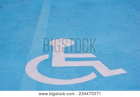 Select Focus Cripple Sign On Park Car Outdoor,the Symbol Handicapped On A Parking Space